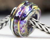 Lustre Shine Bead Handcrafted Lampwork Glass European Charm Big Holed Bead by Clare Scott SRA
