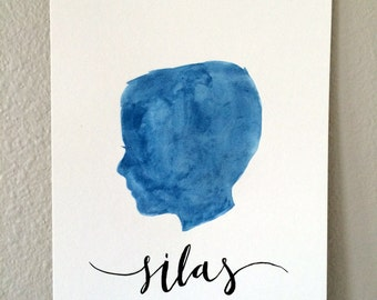 Custom Watercolor Silhouette - with Name