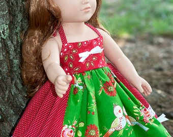 """18"""" doll Christmas dress, girl doll dress, red green white Christmas doll dress apron twirl dress, american handmade doll clothes small gift"""
