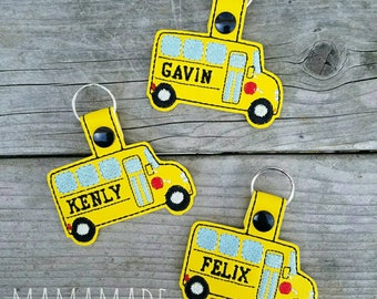Embroidered Key Chain - Personalized School Bus- Perfect for backpacks and lunch box