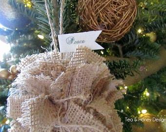 Burlap Christmas Ornament, Rag Ball, Rustic Christmas Tree Ornament