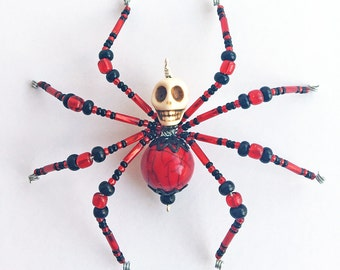Karma - red and black glass beaded skull spider goth sun catcher - Halloween decoration - Christmas ornament