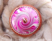The Clay Sheep Drop Spindle - LIMITED EDITION - Raspberry Swirl Top Whorl Drop Spindle - Medium 1.54 oz