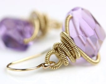 Faceted Amethyst Earrings. Amethyst Nuggets with Gold Fill Coils.