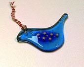 Fused Glass Scandinavian blue star gold bird decoration
