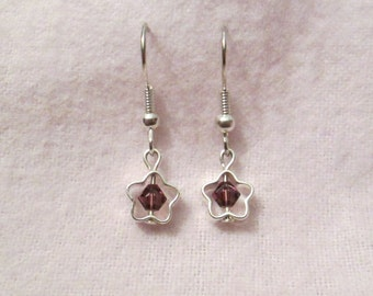 Purple Swarovski Crystal and Silver Plated Star Earrings