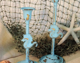 Turquoise Painted Vintage Brass Seahorse Candle Holders, Candlesticks, Shabby Chic Beach Decor,