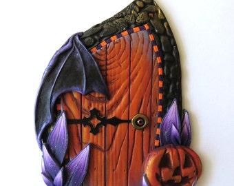 Bat Wing Halloween Door, Jack O Lantern Polymer Clay Pixie Portal, Halloween Decor