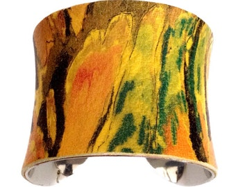 Multi Colored Abstract Printed Leather Cuff Bracelet - by UNEARTHED