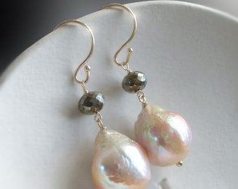 VALENTINES DAY SALE 14K Kasumi Like Pearls with Pyrite