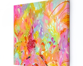 Canvas Print, Large print on Canvas, Bright Colors Abstract Art, Stretched Canvas Print, Framed Canvas Artwork, Auroral