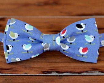 Mens Bird Bow Tie - multi-colored birds on blue cotton bowtie, bow tie for men, teen boy bow tie, bird bow tie, mens bow tie, cotton bow tie