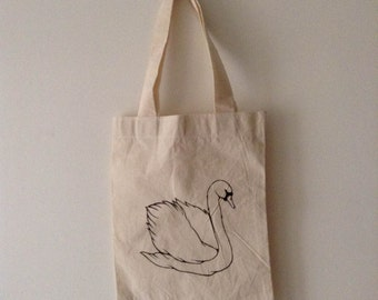 Swan handpainted bag
