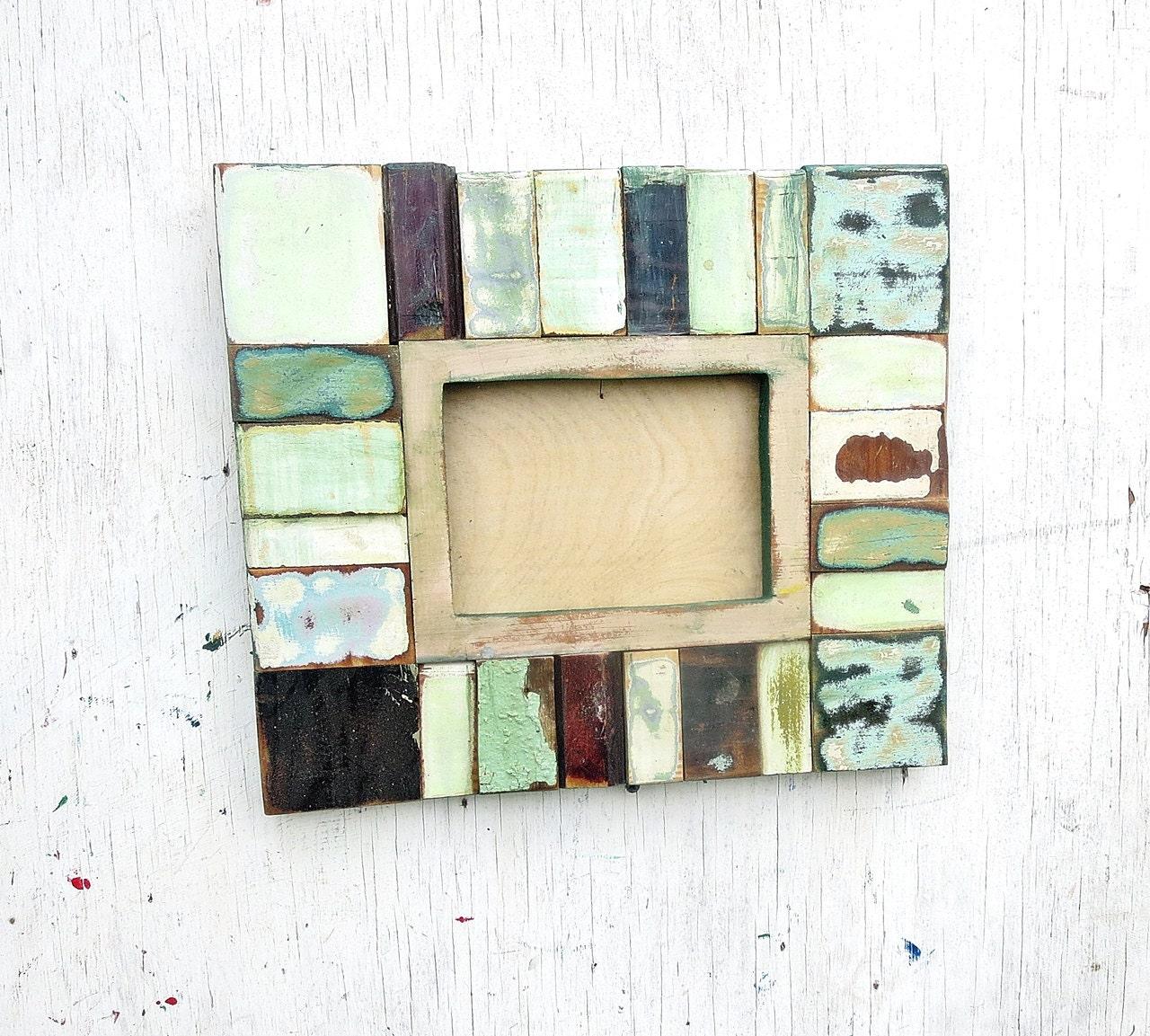 green picture frame reclaimed wood frame 5x7 photo frame. Black Bedroom Furniture Sets. Home Design Ideas