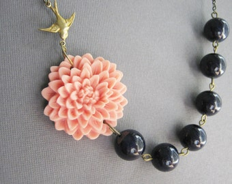 Coral Jewelry,Navy Blue Jewelry,Bridesmaid Jewelry Set,Statement Necklace,Coral Flower Necklace,Nautical Jewelry,Bib Necklace,Navy Necklace