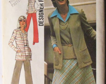 1970s Vintage Sewing Pattern Simplicity 6516 Misses Cardigan, Top, Pants & Skirt Pattern Size 10 Uncut