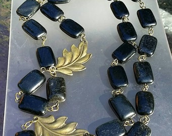Genuine Obsidian Bronze Chain Link Long Necklace