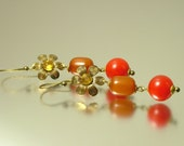 Vintage/ estate jewelry Art Deco, 1920s, 1930s red bakelite and paste, flower costume earrings - simichrome tested