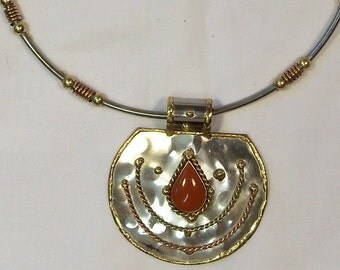 Sale Mixed Metals statement pendant and necklace hand made india
