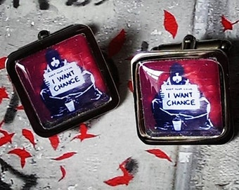 Banksy 'Keep your coins, I want Change' Cufflinks
