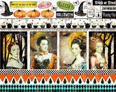 ART TEA LIFE Halloween Ladies of the Night atc cards Collage Sheet digital file printable download decoupage clip scrapbook journal vampire