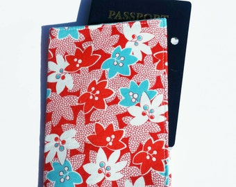 FREE SHIPPING UPGRADE with minimum -  Passport case / passport holder / passport cover : Riley Blake red white and aqua flowers