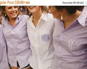SALE Wedding Boyfriend Shirt - monogrammed - used on wedding day for hair and make up - great bridal party gift - swimsuit cover up - oversi