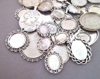 Assorted Silver Pendant Setting Grab Bag