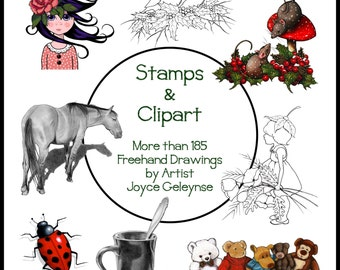 Clip Art, Stamp Art, Pencil Drawings, CD with 185+ Images, Hand Drawn, OOAK Art for Card Making, Commercial Use, Scrap Book, Crafts, Logos