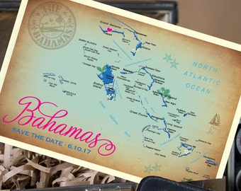 Vintage Map Postcard Save the Date (Bahamas) - Design Fee