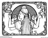 Downloadable coloring page Lakshmi goddess fantasy art nouveau