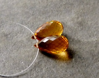 AAA Dark Citrine Faceted Tear Drop Briolettes 6x12mm - Matched Pair