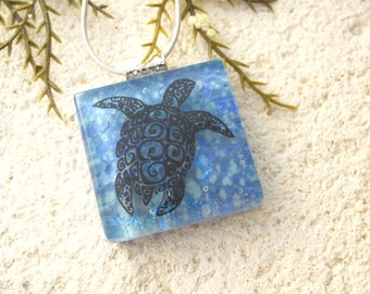 Sea Turtle Necklace, Fused Glass Pendant, Dichroic Fused Glass Jewelry, Fused Glass Jewelry, Sea Life Necklace, Turtle Necklace,  060316p110