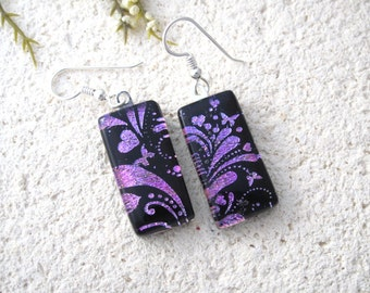 Pink Purple Earrings, Dangle Drop Earring, Dichroic Earrings, Fused Glass Jewelry, Earrings, Dichroic Jewelry, Sterling Silver, 082316e101