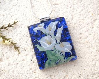 Calla Lily Necklace, Dichroic Jewelry, Fused Glass Jewelry,Flower Necklace, Lily Necklace, Necklace, Calla Lily, Violet Purple, 021716p106