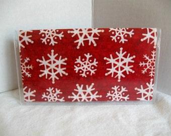 Snow Checkbook Holder - Snowflake Cover For Duplicate Checks - Snow Cash Holder - Snowflakes on RED - Vinyl Checkbook Holder Fabric Insert