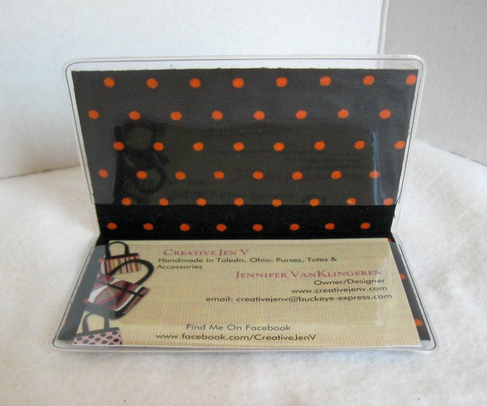 Business Card Holder - Black Orange Mini Wallet - Vinyl Business ...