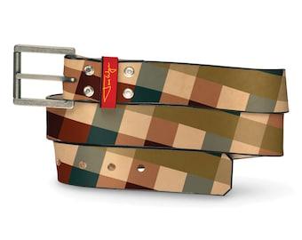 Big Plaid Leather Belt, Plaid Belt, Leather Belt Pattern