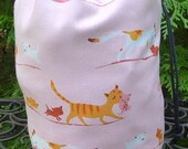 Cat Drawstring bag, WIP bag, knitting project bag, Mahjongg tile bag, Kitty Family, Suebee