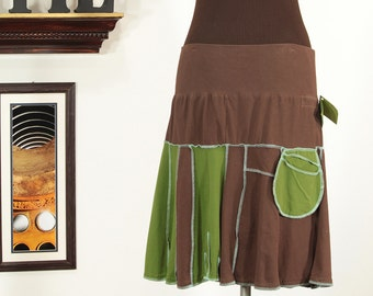 friendly upcycled skirt in brown and green with aqua - plus a pocket