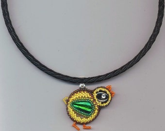 Beadwoven Beaded Chick Pendant . Yellow, Orange, Green Chick Necklace . Leatherette Necklace - Easter Chick Choker by enchantedbeads on Etsy