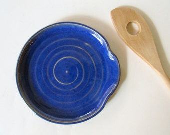 Spoon Rest - Ladle Rest - Glazed in Indigo Swirl - Royal Blue - Kentucky blue - Ready to ship, Handmade studio pottery