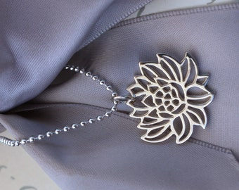 Blooming Lotus Necklace - Sterling Silver