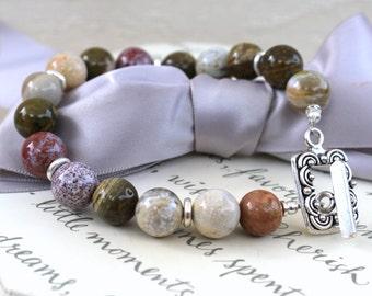 Ocean Jasper bracelet with Sterling toggle