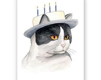 Cake Hat Cat Birthday Card