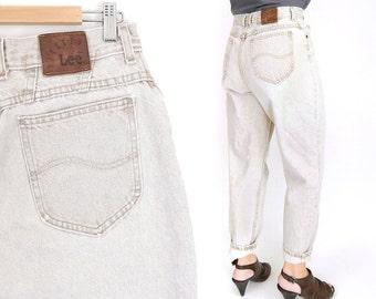 "Sz 12 High Waisted Tan Acid Wash Lee Jeans - Vintage 80s Women's Tapered Leg High Rise Baggy Denim Mom Jeans - 30"" Waist"