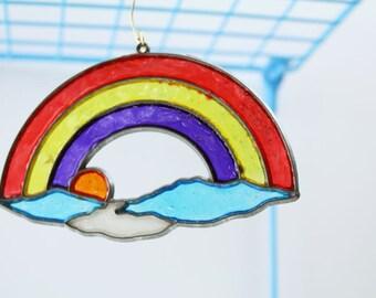 Plastic Rainbow Sun Catcher – Vintage Colorful Retro Window Ornament – Clouds / Hanging Decoration / Decor