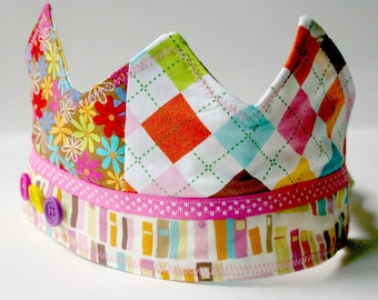 Rainbow Natural Birthday Crown: Patchwork Fabric Dressup Toy for Kids Age 2 and Up