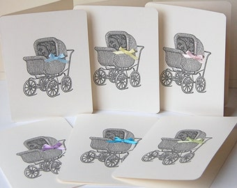 SALE Baby Buggy Cards, Blank Note Cards Set, Baby Thank You Cards, Baby Shower Card, Baby Card Set, Baby Gift Card, Note Cards, Baby Buggy