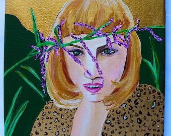 Lavender Girl 8x10 acrylic portrait painting